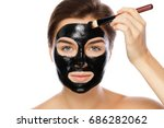 beautiful woman is applying...   Shutterstock . vector #686282062