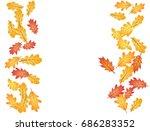 oak leaf vector frame or border ... | Shutterstock .eps vector #686283352
