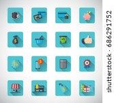 shopping icon set. | Shutterstock .eps vector #686291752