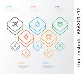 journey outline icons set.... | Shutterstock .eps vector #686301712