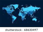 detailed world map of blue... | Shutterstock . vector #68630497