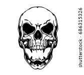 evil skull illustration on white | Shutterstock . vector #686315326