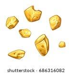 Golden Ore Set. Vector...