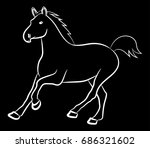 the horse runs forward. vector... | Shutterstock .eps vector #686321602
