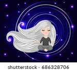 little girl with long hair in... | Shutterstock .eps vector #686328706