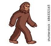 Stock photo comic style cartoon bigfoot walking mythical creature clip art illustration 686332165