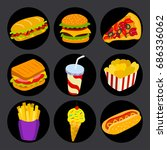 set of fast food icons on black ... | Shutterstock .eps vector #686336062