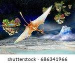 pterosaurs flying between the... | Shutterstock . vector #686341966