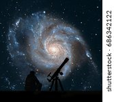 Man with telescope looking at the stars. Pinwheel Galaxy Messier 101, M101 in the constellation Ursa MajorElements of this image are furnished by NASA.
