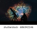 man with telescope looking at... | Shutterstock . vector #686342146