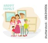 a happy family portrait | Shutterstock .eps vector #686344006