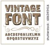 vintage label font. alcogol... | Shutterstock .eps vector #686345416