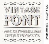 vintage label font. alcogol... | Shutterstock .eps vector #686345422