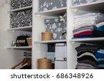 the wardrobe  closet in which...   Shutterstock . vector #686348926