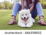 happy woman playing in the park ... | Shutterstock . vector #686358832