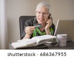 frustrated senior woman yelling ... | Shutterstock . vector #686367955