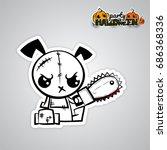 halloween evil dog blood saw...   Shutterstock .eps vector #686368336