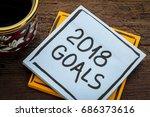 2018 goals   handwriting in... | Shutterstock . vector #686373616