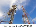 telecommunication mast tv... | Shutterstock . vector #686374282
