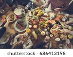 people celebrating thanksgiving ... | Shutterstock . vector #686413198