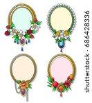 vector decorative floral photo... | Shutterstock .eps vector #686428336