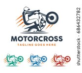 unique motocross illustration... | Shutterstock .eps vector #686432782
