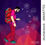 young man walking with smart... | Shutterstock .eps vector #686447752
