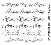 vector image. a set of curls... | Shutterstock .eps vector #686453722