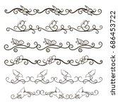 vector image. a set of curls... | Shutterstock .eps vector #686453722