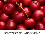 sweet cherry basket  background | Shutterstock . vector #686483425