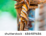 closeup to rust on iron wire ... | Shutterstock . vector #686489686