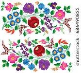 hungarian embroidery folk... | Shutterstock .eps vector #686490832