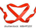 single red ribbon with heart... | Shutterstock . vector #68649103