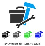 toolbox flat vector icon.... | Shutterstock .eps vector #686491336