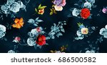 wide seamless background floral ... | Shutterstock .eps vector #686500582