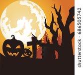 pumpkins halloween vector art   Shutterstock .eps vector #686505742