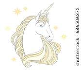 unicorn  hand drawn vector... | Shutterstock .eps vector #686506372