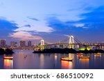 sunset twilight of tokyo... | Shutterstock . vector #686510092