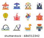 carousels amusement attraction... | Shutterstock .eps vector #686512342