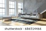 modern bright living room ... | Shutterstock . vector #686514466