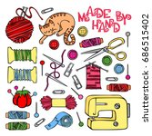 sewing  sewing machine  thread  ... | Shutterstock .eps vector #686515402