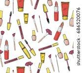 glamorous make up seamless... | Shutterstock .eps vector #686520076