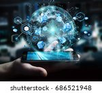 flying earth network interface... | Shutterstock . vector #686521948
