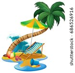 beach scene with seat and... | Shutterstock .eps vector #686526916