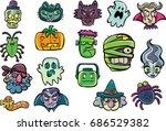halloween characters | Shutterstock .eps vector #686529382