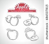 apple. set of fresh fruits ... | Shutterstock .eps vector #686537815