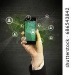 caucasian hand in business suit ...   Shutterstock . vector #686543842