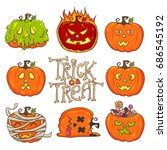 trick or treat  pumpkin set.... | Shutterstock .eps vector #686545192