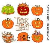 trick or treat  pumpkin set.... | Shutterstock .eps vector #686545192