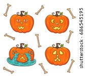 pumpkin set. love  smaile ... | Shutterstock .eps vector #686545195